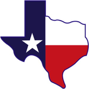 red whiote and blue image of Texas, with white star