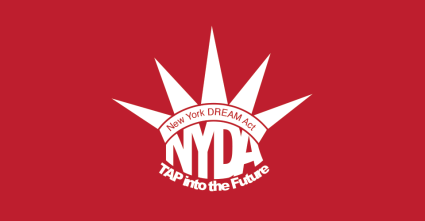Red backgroudn wtih white crown labeled NEW YORK DREAM ACT - NYDA - Tap into the Future