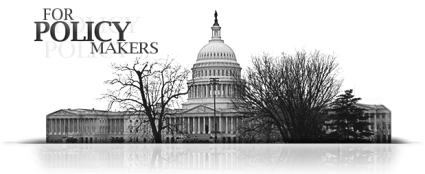 "black and white picture of US Capitol Building with lettering on top saying ""For Policy Makers"""