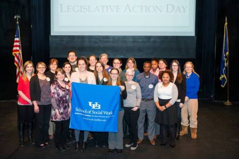 UB SSW Students and staff in Albany for 2015 SW Student Legislative Action Day - Photo courtesy of NASW-NYS