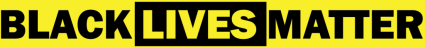 Logo shows the words Black Lives Matter in alternate black lettres on yellow then yellow on black
