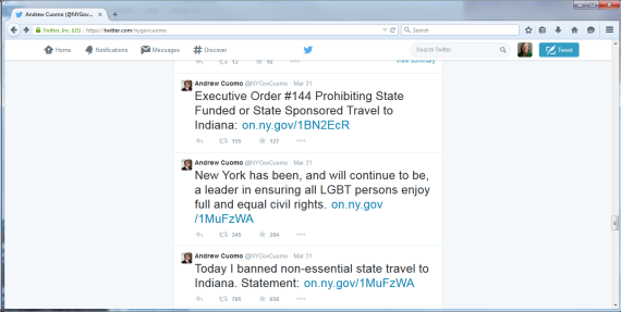 3 twitter messages from NYS Gov. Andrew Cuomo