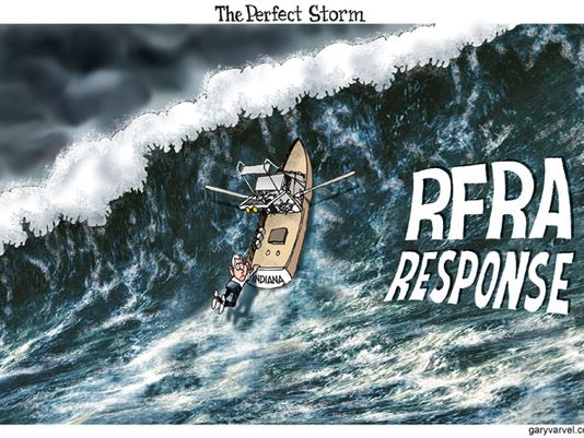 "Picture of giant wave with boat labled ""RFRA"" and figure of man, Governor Pence, clinging to back of boat"