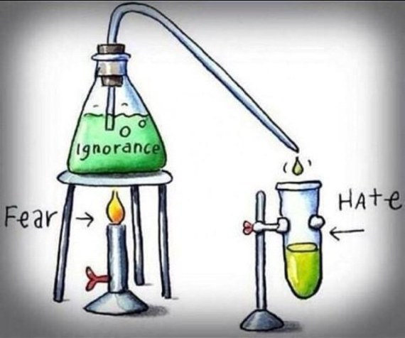 cartoon of a chemistry experiment, with Fear heating a flask titled Ignorance resulting in a test tube labeled Hate