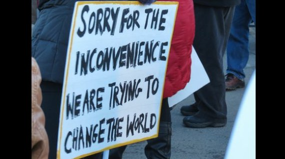 Protest sign saying