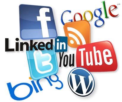 Array of social media logos