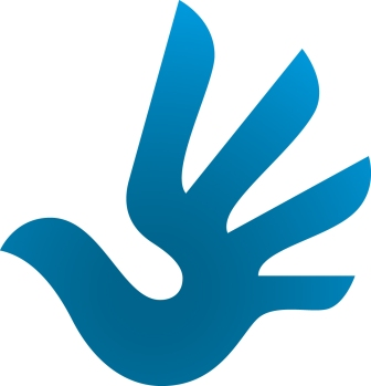 Blue stylized hand holding a white dove is the symbol for human rights.