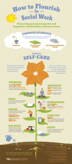 chart showing a flower with leaves indicating self-care steps: exercise, meditate, read, laugh, sleep, take time off, access green spaces regularly.