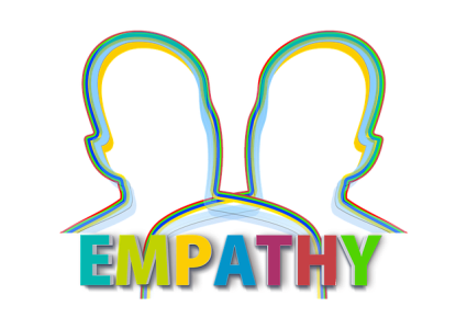 Drawing of two heads outlined, with the word EMPATHY underneath in multiple colors