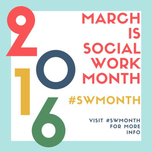"logo for 2016 Social Work Month, with the hashtag #SWmonth and the phrase ""March is Social Work Month"""
