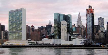Picture of UN buildings seen from across the East River. TAken from Roosevelt Island.
