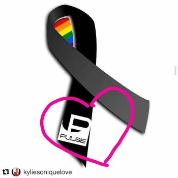 a memorial black ribbon has rainbow stripes in th ellop and Pulse nightclub logo on one edn witha pink heart around the logo