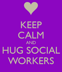purple backforund with white heart at top and sign says: Keep Calm and Hug Social Workers