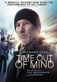 "poster of movie ""Time Out of Mind"" with Richard Gere looking tohis rights, in a watch cap/hat pulled down over forehead, with backgound of blurred people and streams of light."