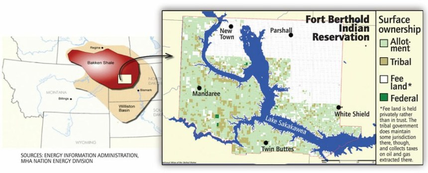 two maps side by side: one on left shows the Bakken Shale area -Alberta, Montana, North and South DAkota. The second map shows the area of Fort Berthold India Reservation in North Dakota.