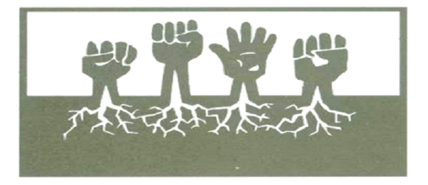 Rectangel white background with 4 fists arising from the earth - image is from the Sierra Club webpage on the environmental justice movement.