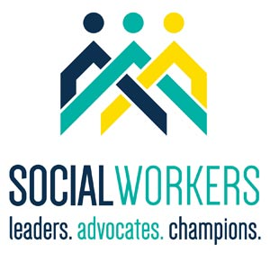 logo for 2018 Socia WRok Month shows 3 abstract people with linked arms above the text: Social Workers: leadrs, advocates, champions. Color are dark blue, turquoise and yellow.