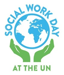 Logo: globe with blue land and white water held up by two green hands. Text: Social Work Day (above the globe in blue letters) at the UN (below the globe in green letters).