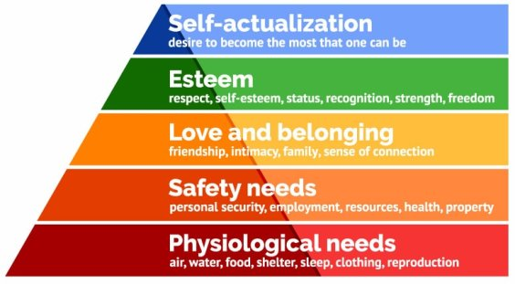 pyramid with 5 levels each in different color, describing the hierarch of needs