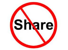 Share in red circle with slash through it that means no sharing
