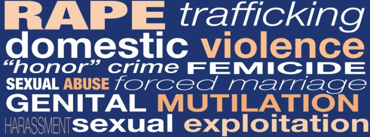 "bumper stucker style image, wiht many types of violence agianst women listed: rape, trafficking, domestic violence, ""honor"" crime, femicide, sexual abuse, forced marriage, genital mutilation, harassment, sexual exploitation."