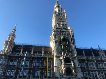 Tall tower of old building in Marienplatz, Munich Germany.