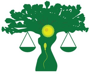 Green tree with trunk that is shaped like the torso of a woman. Scales of justice are balanced on tree's lower limbs. There is a yello sun or ovun in the crown, and a yello speim heading up the trunk toward the egg.wiht a