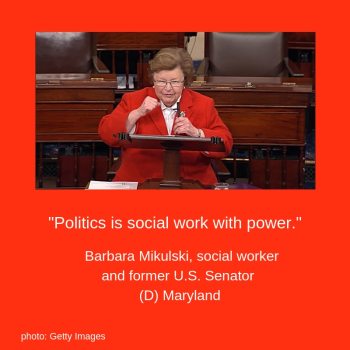 U.S. Senator Barbara Mikulski addressing the U.S. Senate. She is wearing a red suit, white shirt, and gesturing with both hands.